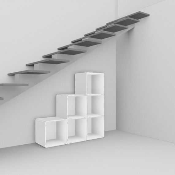 shelving system under stairs and slanted walls