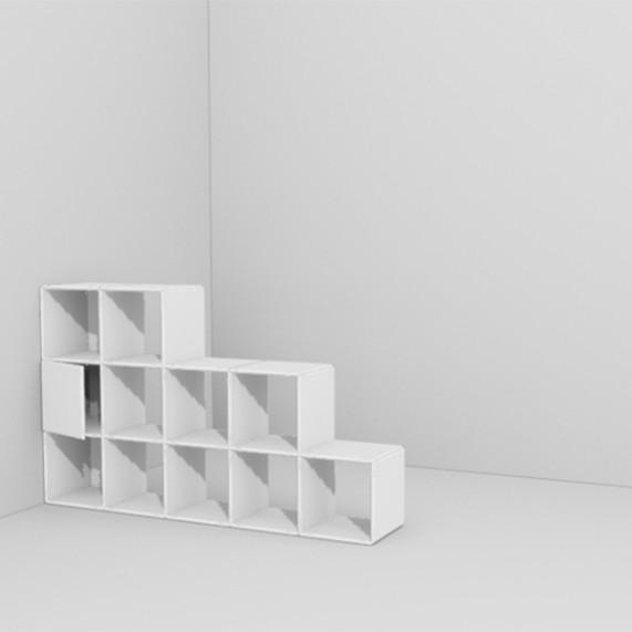 Design Raumteiler von qubing lassen sich jederzeit erweitern so wird aus dem offenen Raumteiler ein geschlossenes Regal