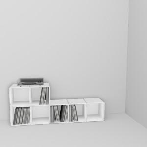 Die Regal Würfel von qubing mit den Maßen 36 x 36 passen perfekt für Schalplatten in der Größe 31 x 32. Das Regalsystem kann jederzeit erweitert werden