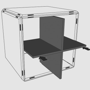 Das Ordnungskreuz vertikal ergänzt das Zubehör Sortiment des modularen Design Regal qubing