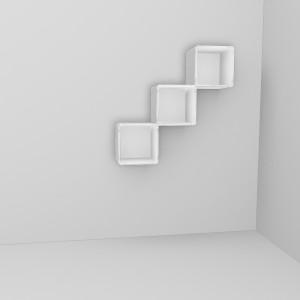 qubing Hängeregale können diagonal, vertikal und horizontal gesetzt werden, pro Cube wird eine Wandhalterung benötigt.