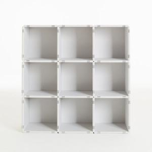 3x3 Würfelregal in weiß kann jederzeit erweitert werden.