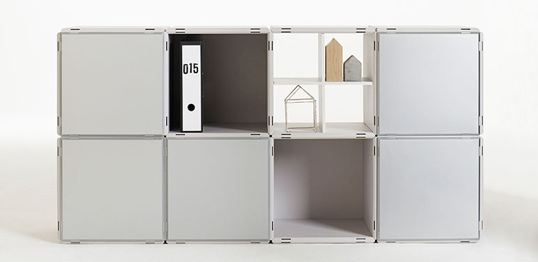 qubing shelf in grey with doors
