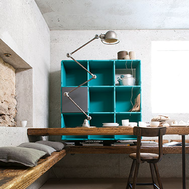 qubing cube shelf with doors in grey and turquoise