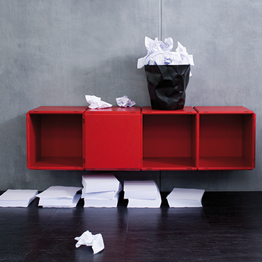 qubing modular wall shelves in red