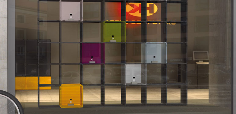 qubing modular shelving system for trade fair stands – eye-catchingly colourful