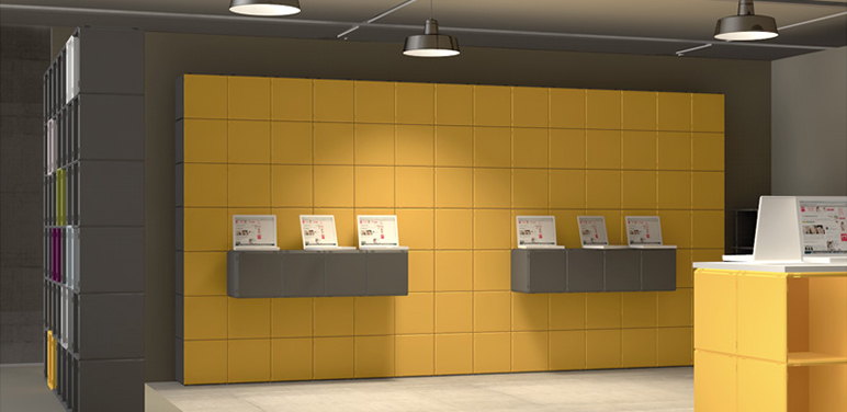qubing shelf system: modular and expandable for trade fairs