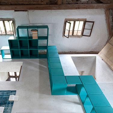 modular designer shelves turquoise