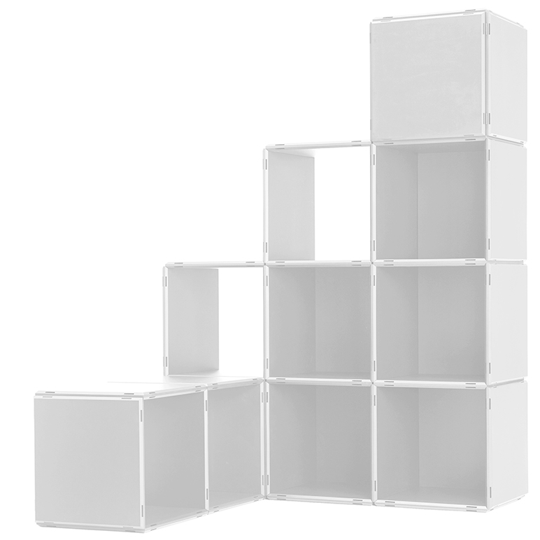 Around the corner shelving system by qubing in white