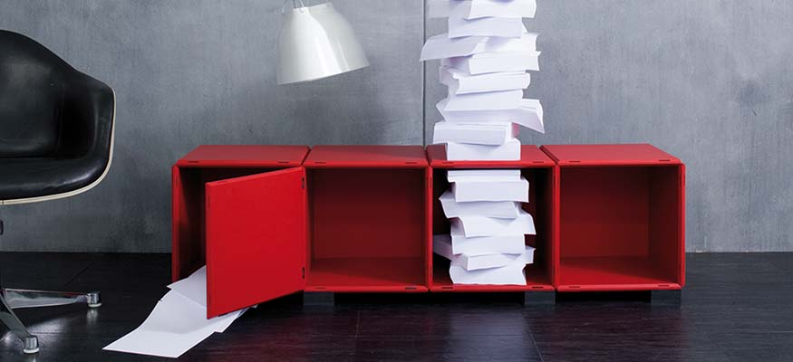 qubing sideboard in white, black and red